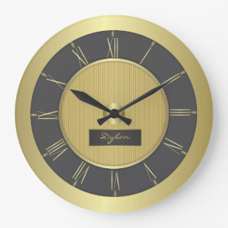 Black and gold large clock