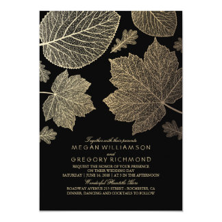 Black and Gold Leaves Vintage Fall Wedding 13 Cm X 18 Cm Invitation Card