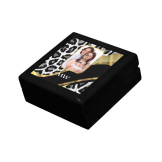 Black and gold leopard print gift box