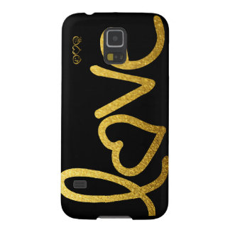 Black and Gold Love Galaxy S5 Cover