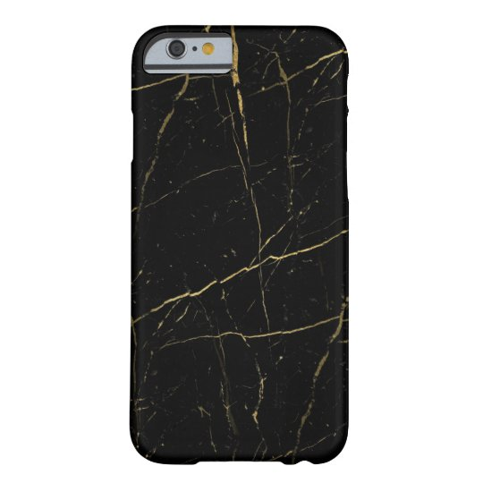 Black and Gold Marble Barely There iPhone 6