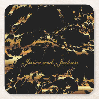 Black and Gold Marble Design Square Paper Coaster