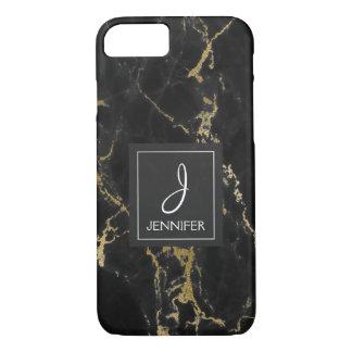 Black and Gold Marble Elegant Monogram iPhone 8/7 Case