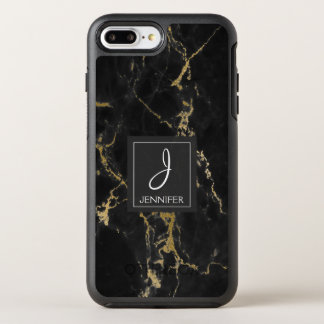 Black and Gold Marble Elegant Monogram OtterBox Symmetry iPhone 8 Plus/7 Plus Case