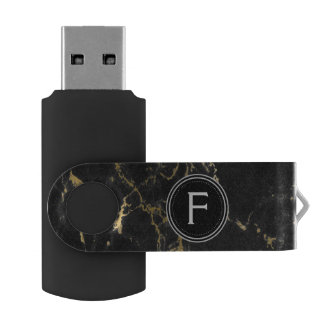 Black and Gold Marble Monogram USB Thumb Drive