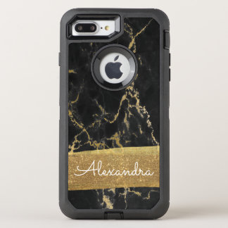 Black and Gold Marble with Gold Foil and Glitter OtterBox Defender iPhone 8 Plus/7 Plus Case