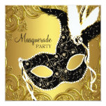 Black and Gold Mask Masquerade Party Personalized Announcement