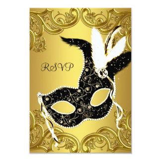 Black and Gold Masquerade Party RSVP 9 Cm X 13 Cm Invitation Card
