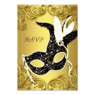 """Black and Gold Masquerade Party RSVP 3.5"""" X 5"""" Invitation Card"""
