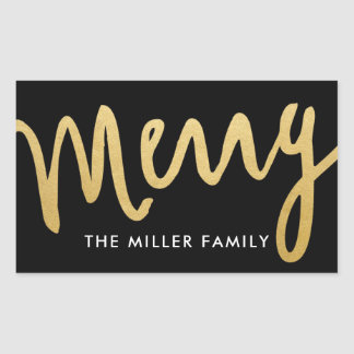 Black and Gold Merry Stickers