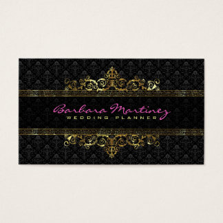 Black And Gold Metallic Floral Damasks & Frame Business Card