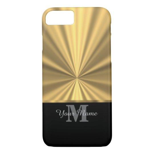 Black and gold metallic monogram iPhone 7 case