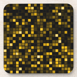 Black And Gold Meteor Shower Squares Pattern Drink Coaster