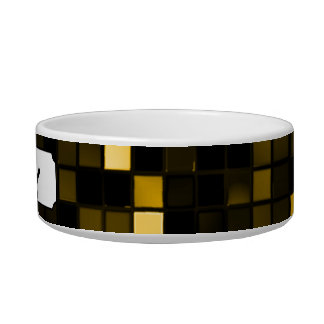 Black And Gold Meteor Shower Squares Pattern Pet Food Bowls