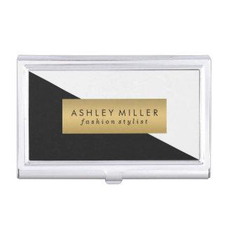 Black and Gold Modern Color Block Business Card Holder