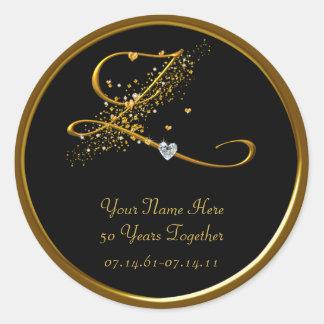 Black and Gold Monogram 50th Anniversary Sticker