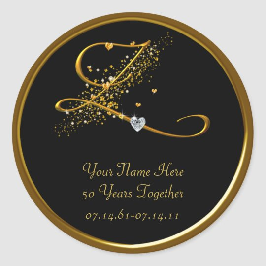 Black and Gold Monogram 50th Anniversary Sticker
