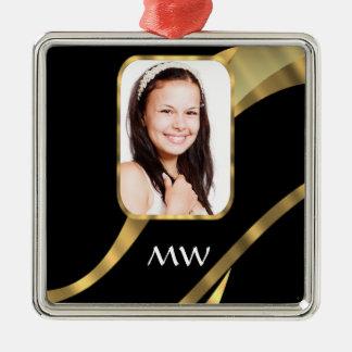 Black and gold monogram christmas ornament