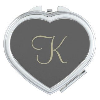 Black and Gold Monogram Compact Mirror