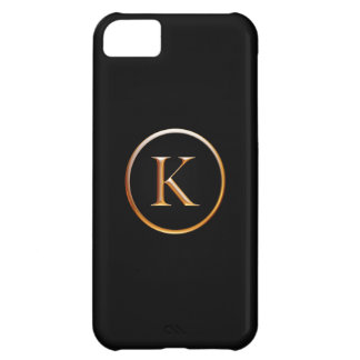 Black and Gold Monogram Cover for iPhone 5, K