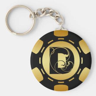 BLACK AND GOLD MONOGRAM LETTER D POKER CHIP KEY RING