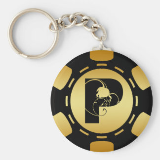 BLACK AND GOLD MONOGRAM LETTER P POKER CHIP BASIC ROUND BUTTON KEY RING