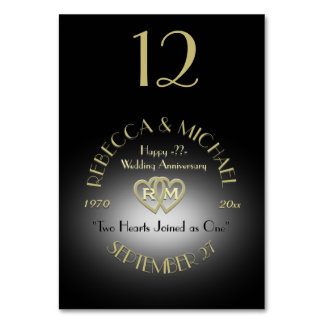 Black and Gold Monogram Table Number Table Card
