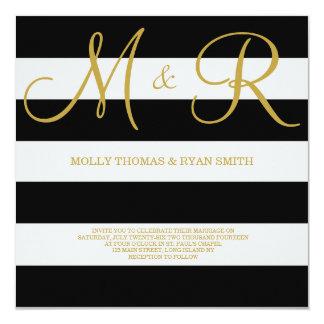 "Black and Gold Monogram Wedding Invitation 5.25"" Square Invitation Card"