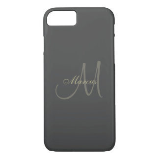 Black and Gold Monogram Wedding iPhone 8/7 Case