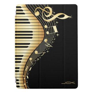 Black And Gold Music Notes Design Monogram iPad Pro Cover
