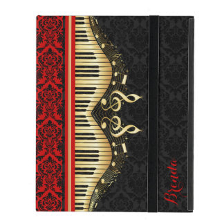 Black And Gold Music Notes Design Red Accents Case For iPad