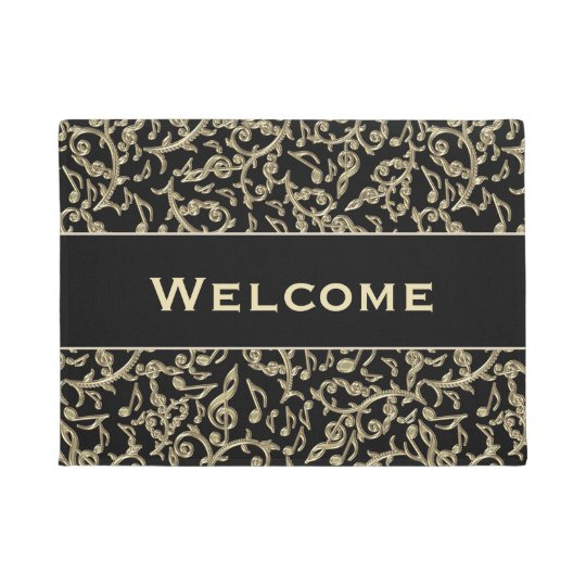 Black and Gold Music Notes Floral Doormat