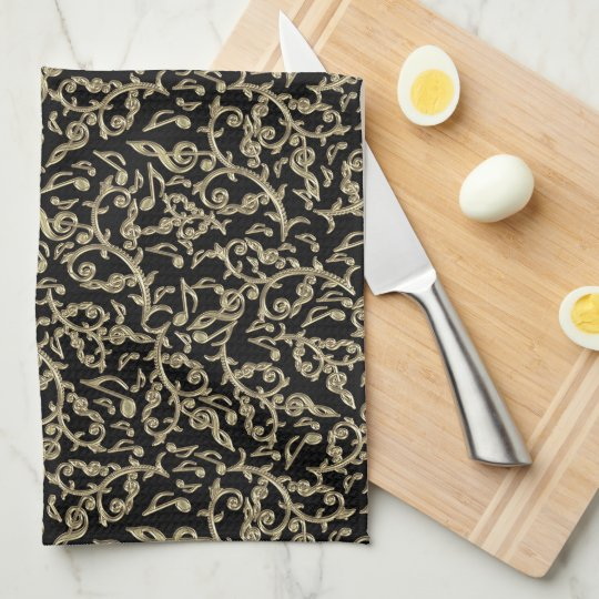 Black and Gold Music Notes Floral Tea Towel