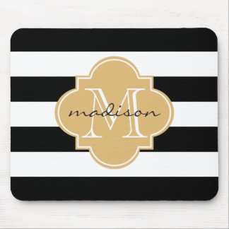 Black and Gold Nautical Stripes Custom Monogram Mouse Mat