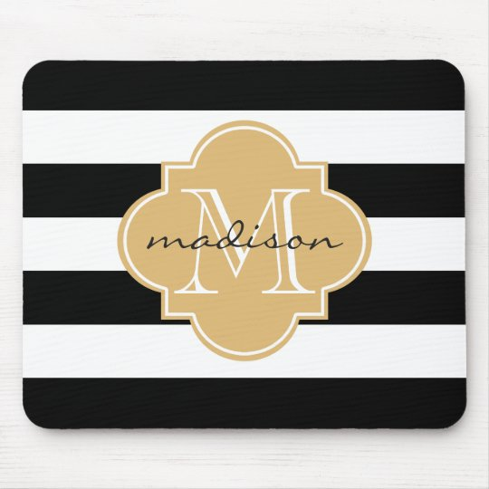 Black and Gold Nautical Stripes Custom Monogram Mouse