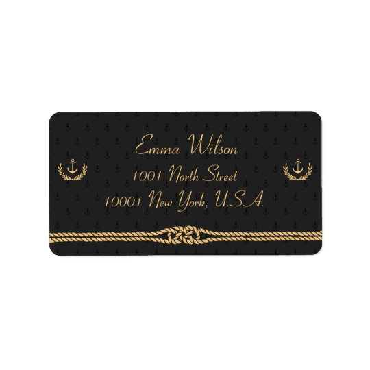 Black And Gold Nautical Wedding Address Labels