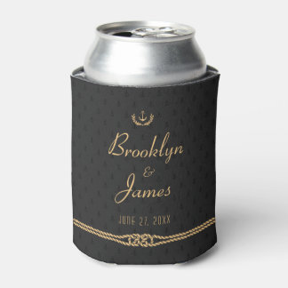 Black And Gold Nautical Wedding Favors Can Coolers