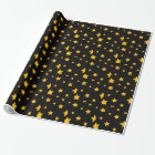 Black and Gold New Year Stars Wrapping Paper