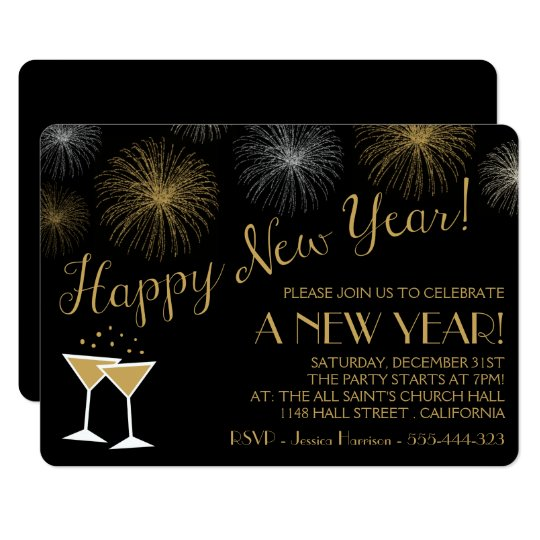 Black And Gold New Years Eve Party Invitations Zazzle Co Uk