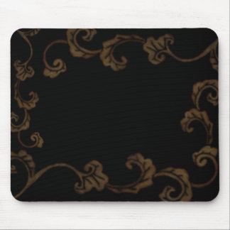 Black And Gold Ornate Leaves Mouse Mat