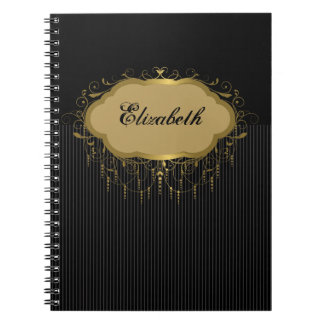 Black and Gold Ornate Stripe Notebook