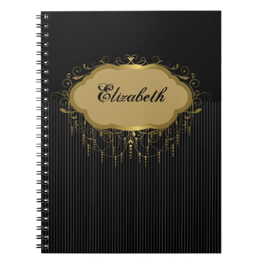 Black and Gold Ornate Stripe Notebook