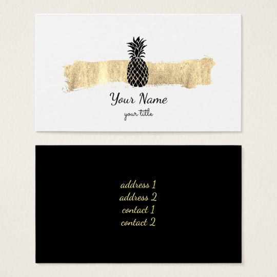 black and gold paint stroke pineapple business card