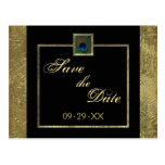Black and Gold Peacock Feather Save the Date Card