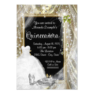 Black and Gold Pearl Quinceañera Card