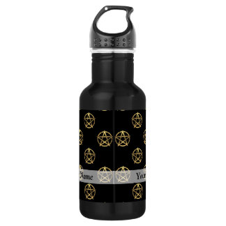 Black and gold pentagram 532 ml water bottle