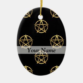 Black and gold pentagram ceramic oval decoration