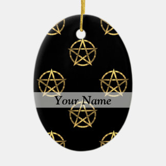 Black and gold pentagram christmas ornament