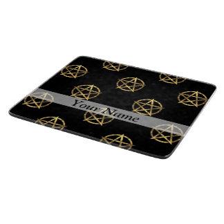 Black and gold pentagram cutting board