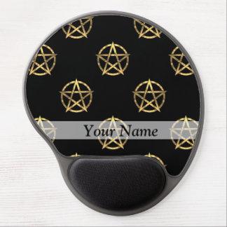 Black and gold pentagram gel mouse pad